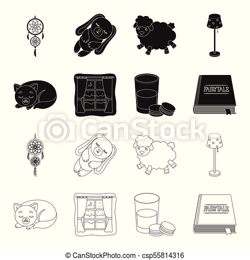 Sleeping cat, night outside the window, milk and biscuits, fairy tales. Rest and sleep set collection icons in black, outline style vector symbol stock illustration web. - csp55814316