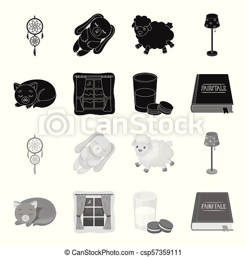 Sleeping cat, night outside the window, milk and biscuits, fairy tales. Rest and sleep set collection icons in black, monochrome style vector symbol stock illustration web. - csp57359111