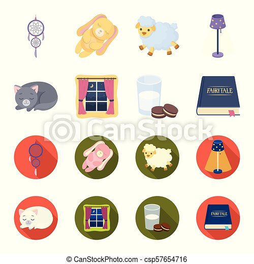 Sleeping cat, night outside the window, milk and biscuits, fairy tales. Rest and sleep set collection icons in cartoon, flat style vector symbol stock illustration web. - csp57654716