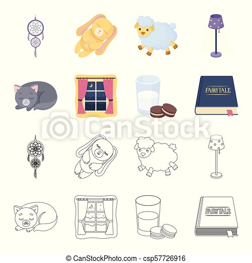 Sleeping cat, night outside the window, milk and biscuits, fairy tales. Rest and sleep set collection icons in cartoon, outline style vector symbol stock illustration web. - csp57726916