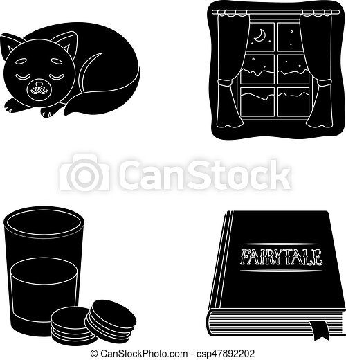 Sleeping cat, night outside the window, milk and biscuits, fairy tales. Rest and sleep set collection icons in black style vector symbol stock illustration web. - csp47892202