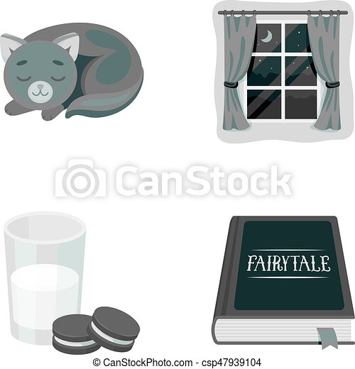 Sleeping cat, night outside the window, milk and biscuits, fairy tales. Rest and sleep set collection icons in monochrome style vector symbol stock illustration web. - csp47939104