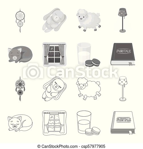 Sleeping cat, night outside the window, milk and biscuits, fairy tales. Rest and sleep set collection icons in outline, monochrome style vector symbol stock illustration web. - csp57977905