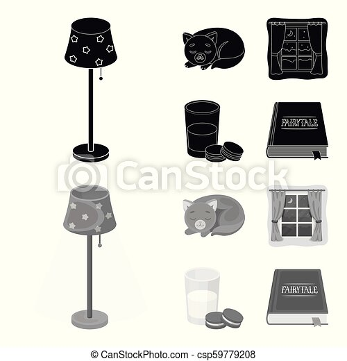 Sleeping cat, night outside the window, milk and biscuits, fairy tales. Rest and sleep set collection icons in black, monochrome style vector symbol stock illustration web. - csp59779208
