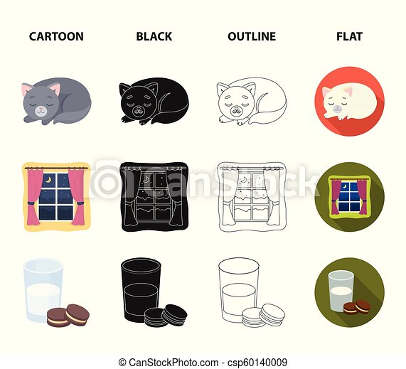 Sleeping cat, night outside the window, milk and biscuits, fairy tales. Rest and sleep set collection icons in cartoon, black, outline, flat style vector symbol stock illustration web. - csp60140009