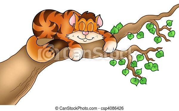Sleeping Cat On Tree Branch Color Illustration