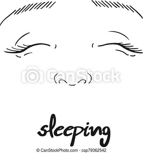 sleeping face draw - csp79362542