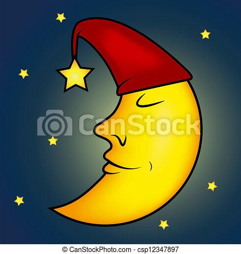 Sleeping Moon Illustration