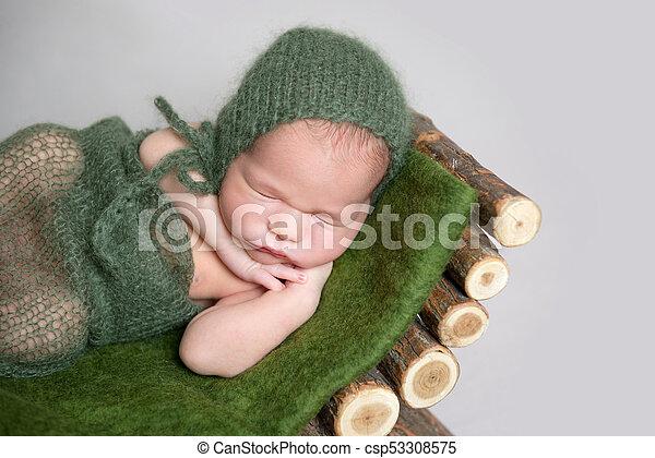 Sleeping newborn baby on wooden crib. - csp53308575