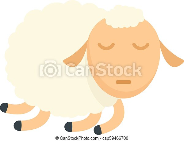 Sleeping sheep icon, flat style - csp59466700