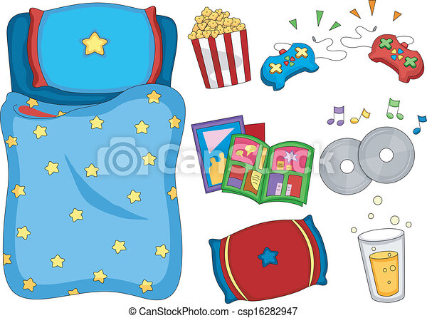 sleepover elements illustration of ready to print eps vector rh canstockphoto com free clipart sleepover party free clipart sleepover party