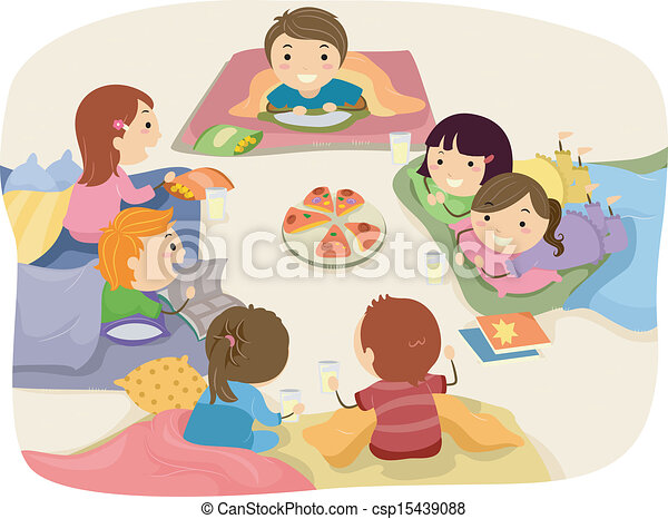 stickman illustration featuring kids chatting while eating at a rh canstockphoto com sleepover clipart png sleepover clipart png