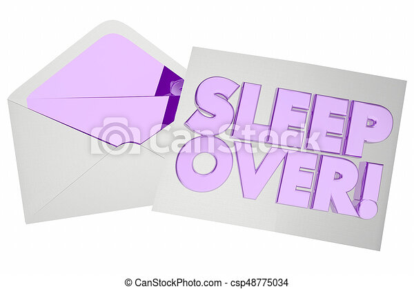 sleepover invitation envelope party invite 3d illustration