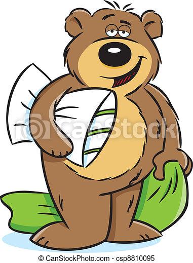 vector illustration of a sleepy bear holding a pillow and clipart rh canstockphoto com sleep clip art images sleep clipart free