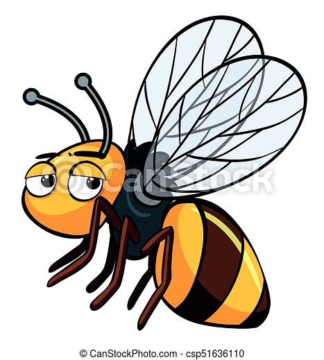 Sleepy bee on white background - csp51636110