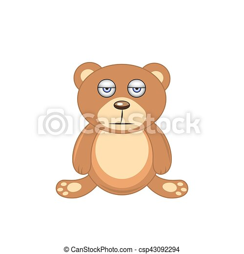 sleepy brown bear isolated on white background - csp43092294
