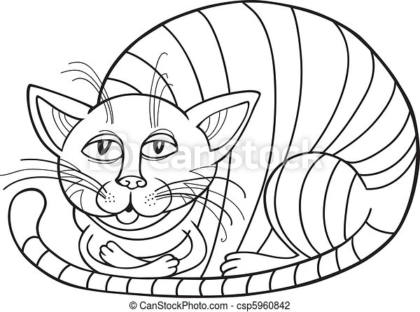 Sleepy Cat for coloring book - csp5960842