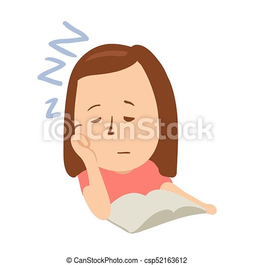 Sleepy girl with closed eyes in front of an open book. Isolated flat illustration on a white backgroud. Cartoon vector image. - csp52163612