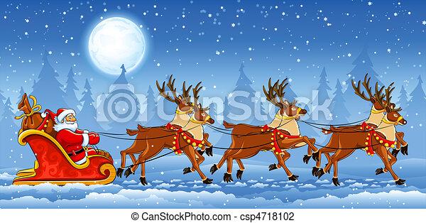 sleigh, montando, claus, natal, santa - csp4718102