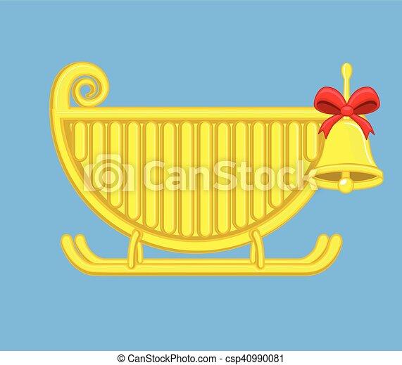 El trineo de Santa con campanas de Navidad - csp40990081