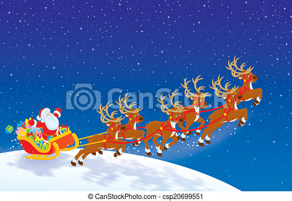 Sleigh of santa. Night before christmas, santa claus with christmas gifts in his sleigh.