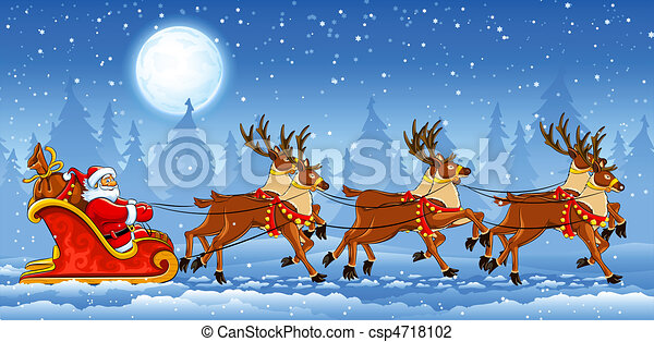 sleigh, ridande, claus, jul, jultomten - csp4718102