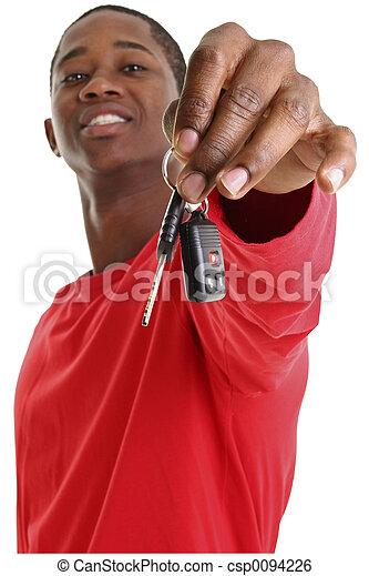 sleutels, auto, ongedwongen, man - csp0094226