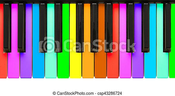 sleutels, regenboog, piano - csp43286724