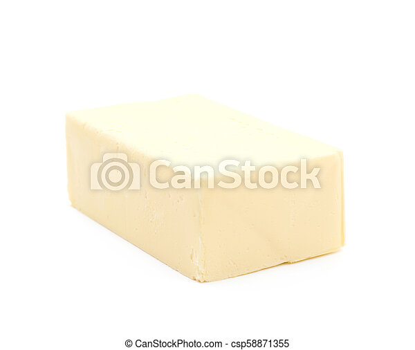 Slice block of butter isolated - csp58871355