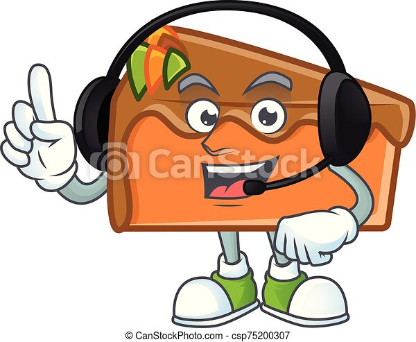 Slice cake character with headphone on white background - csp75200307