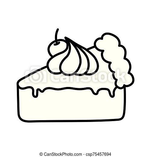 slice cake with cherry cream on white background thick line - csp75457694