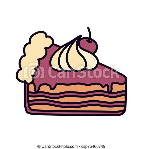 slice cake with cherry cream on white background - csp75460749