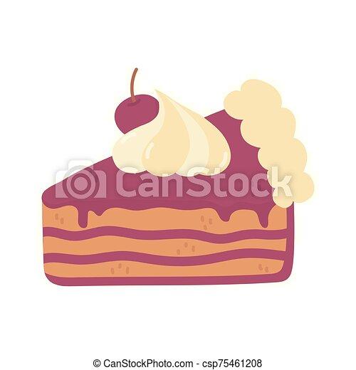 slice cake with cherry cream on white background - csp75461208