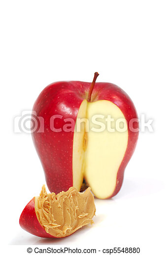 Slice of apple with peanut butter - csp5548880