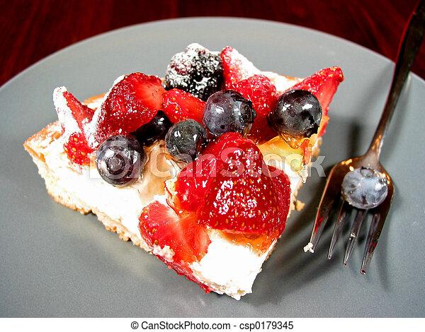 Slice of berry cake - csp0179345