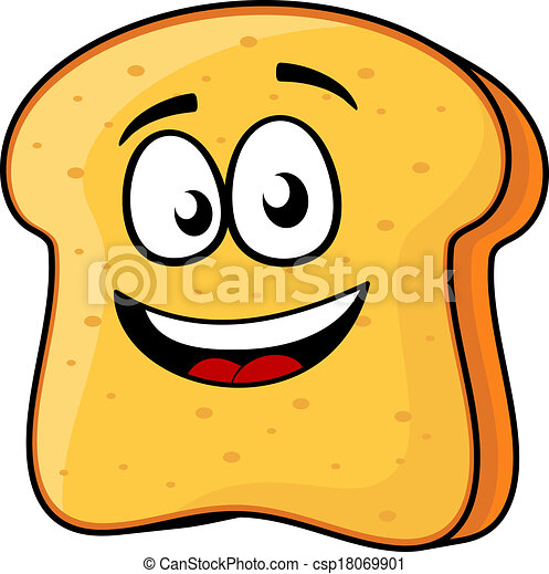 vector cartoon illustration of a happy slice of bread or vector rh canstockphoto com toast clipart png toast clipart free