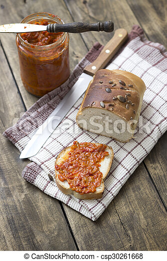 Slice of bread smeared with chutney - csp30261668