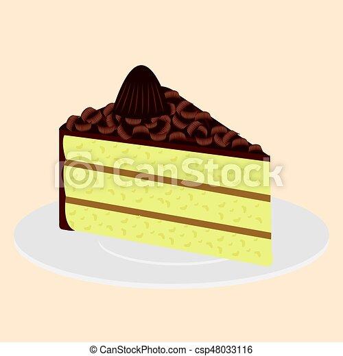 Slice of Cake on plate - csp48033116 & Slice of cake on plate. Sweet food creamy slice of cake illustration.