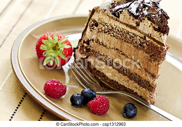 Slice of chocolate cake - csp1312963
