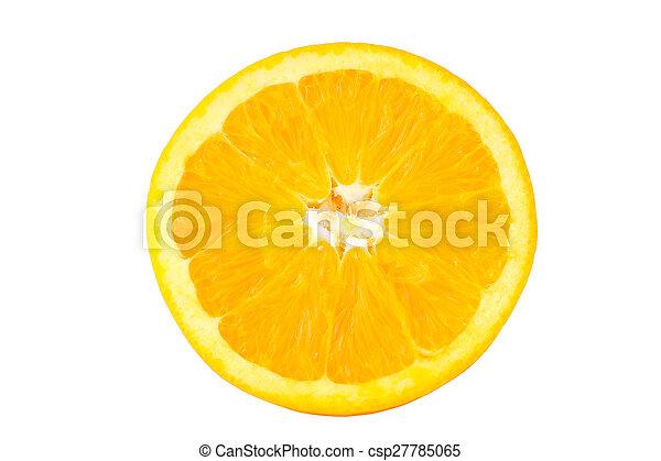 Slice of fresh orange isolated on white background - csp27785065