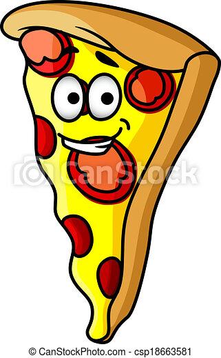slice of happy cheesy pepperoni pizza slice of happy cheesy rh canstockphoto com Extra Cheesy Pizza Cartoon Donut