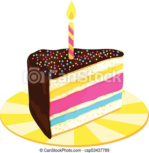 Fabulous Slice Of Layered Birthday Cake With Candle A Slice Of Colorful Personalised Birthday Cards Petedlily Jamesorg