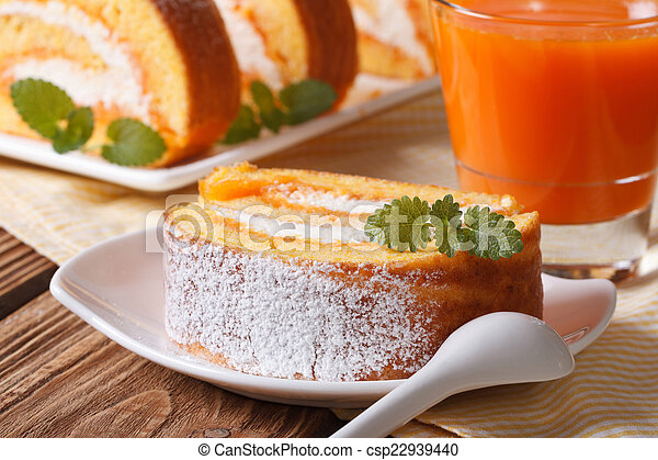 Slice of pumpkin pie on a plate and juice - csp22939440