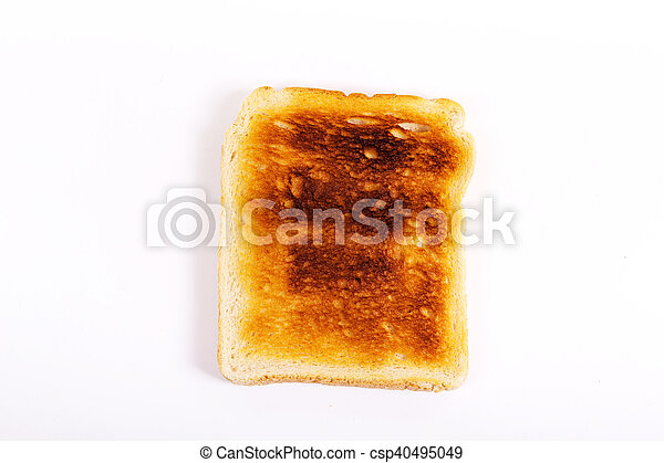 slice of toast on a white background lay flat