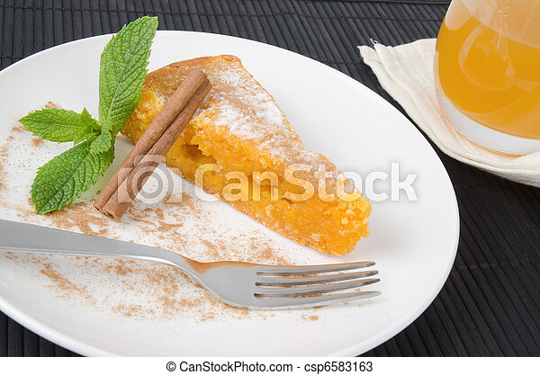 Slice of traditional portuguese cake - csp6583163