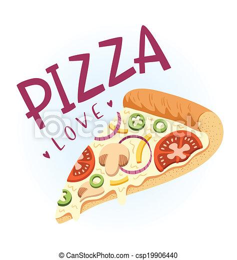 Slice of vegetarian pizza, vector illustration - csp19906440
