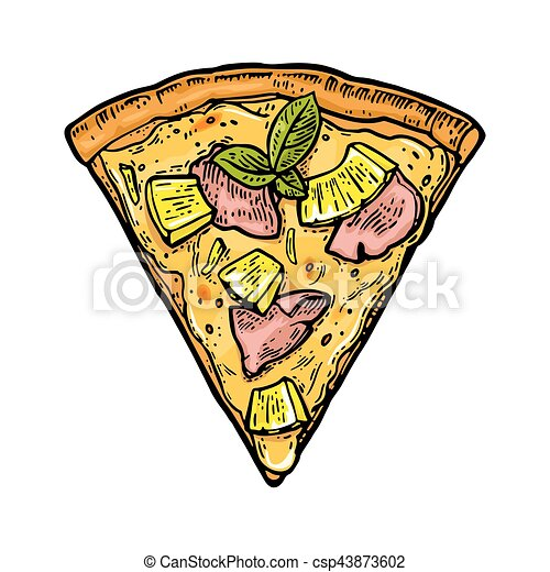 Slice Pizza Hawaiian Vintage Vector Engraving Illustration For Poster Menu Box