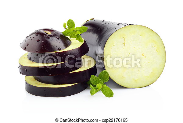 Sliced aubergine, eggplant with basil leaves isolated white - csp22176165