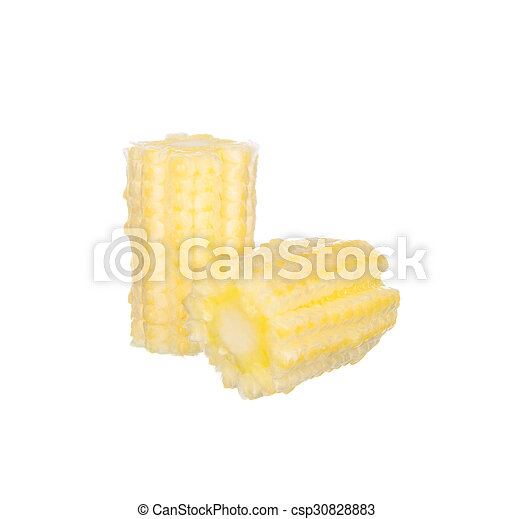 Sliced baby corns isolated on white background - csp30828883