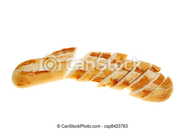 Sliced Baguette Bread Loaf Isolated On White Stock Photos